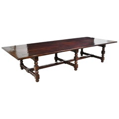 12' Long Dining Table in Dark Mahogany with Ball & Block Turned Trestle Base