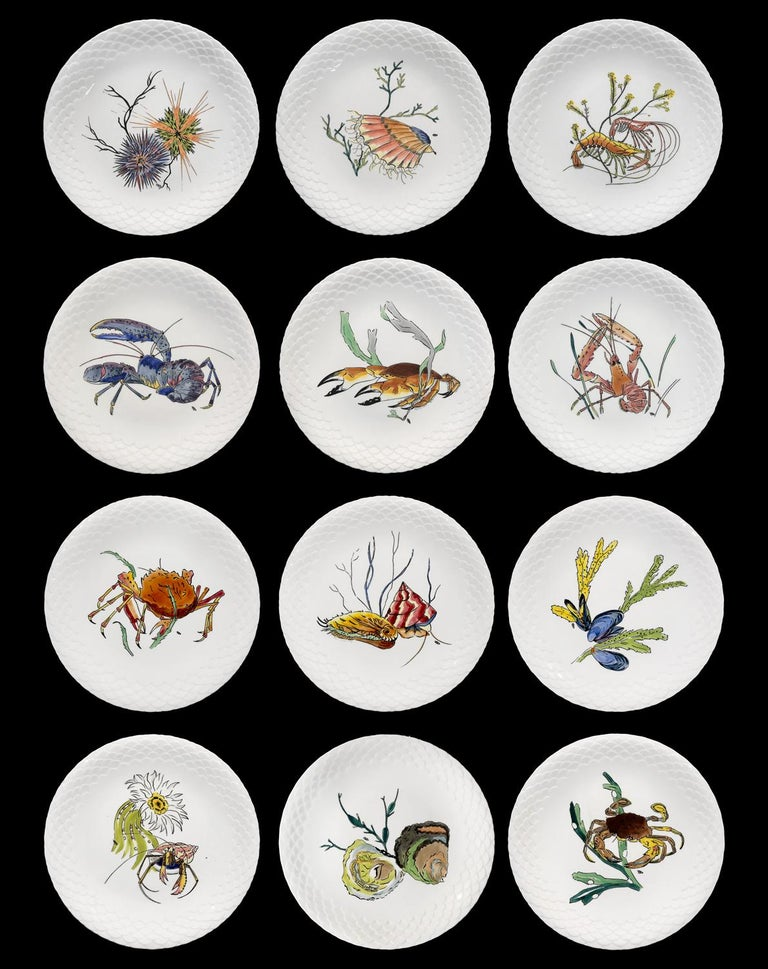 12 dinner plates in hand painted Gien Faience