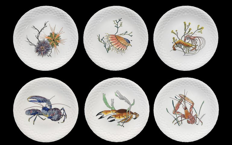 Art Deco 12 Dinner Plates Shellfishes