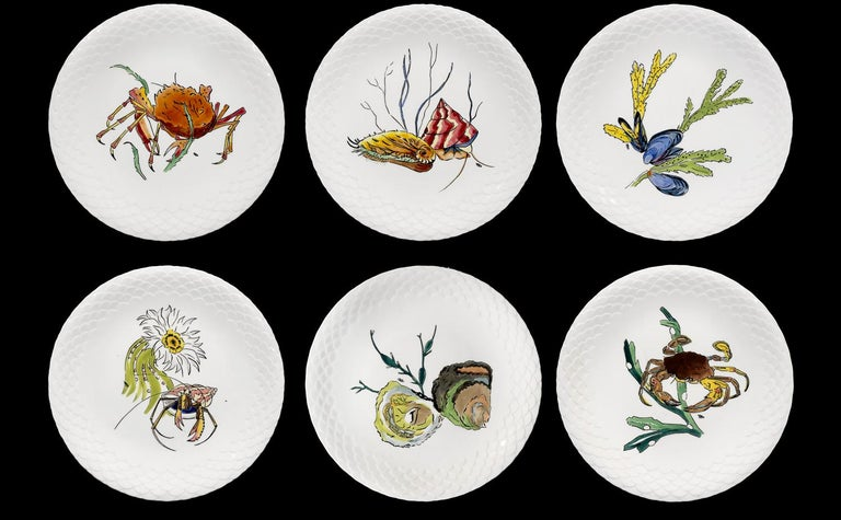 French 12 Dinner Plates Shellfishes