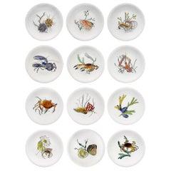 "12 Dinner Plates Shellfishes"" Grands Crustacés"" Gien Faience, 1961"