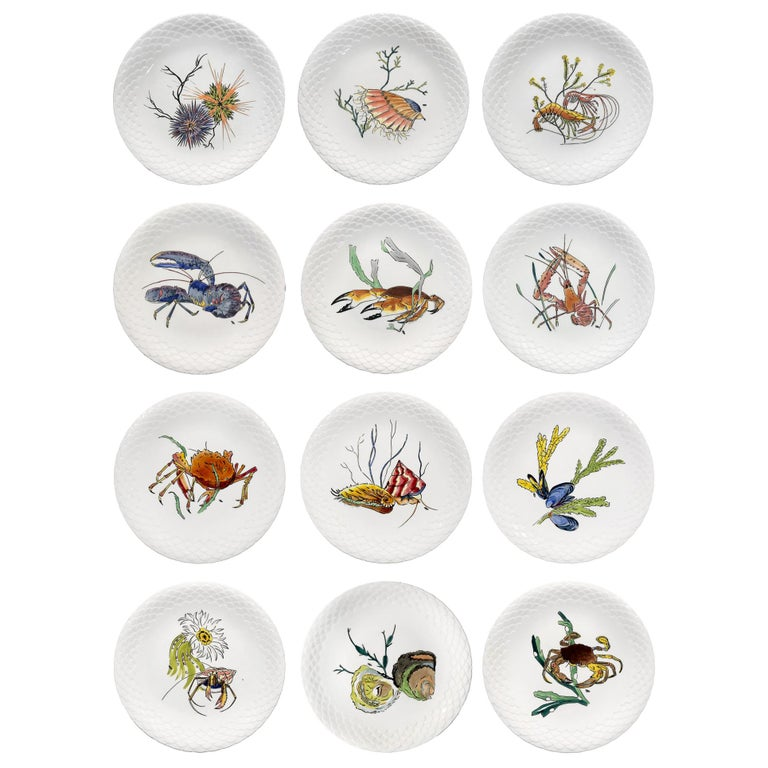 "12 Dinner Plates Shellfishes"" Grands Crustacés"" Gien Faience, 1961 For Sale"