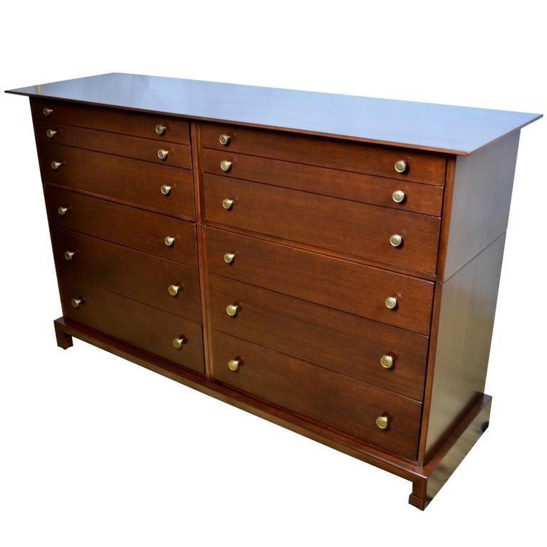 12 Drawer Mahogany Dresser C. G. Kimerly Widdicomb, circa 1946 For Sale