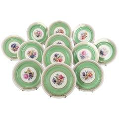 12 Dresden School Czech Floral and Gilt Porcelain Dinner Plates by Puls