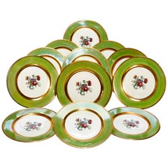 12 English Cauldon Floral and Gilt Trimmed Porcelain Dinner Plates, circa 1920