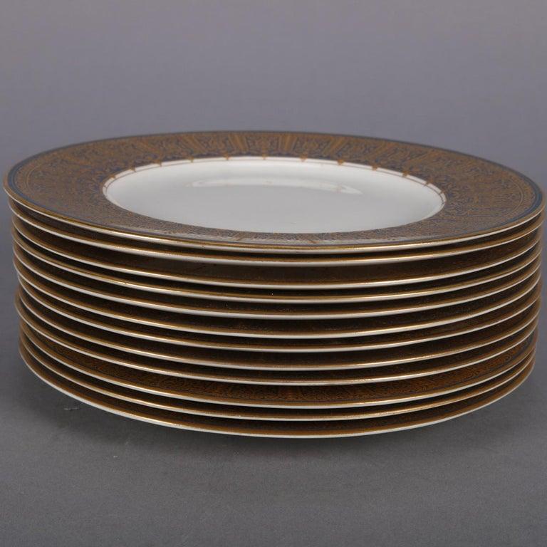 Moorish 12 English Ovington Bros. Gilt Porcelain Dinner Plates by Royal Worcester For Sale