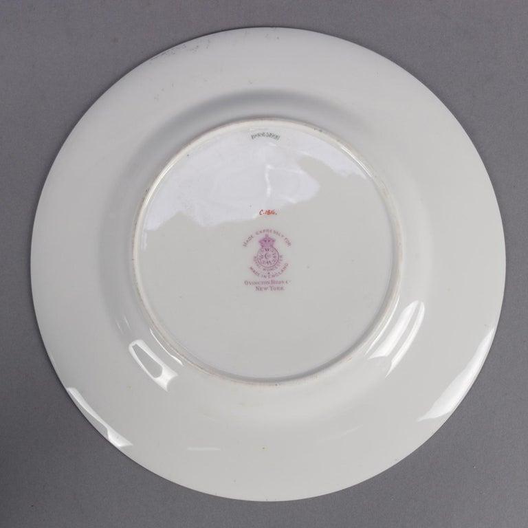 12 English Ovington Bros. Gilt Porcelain Dinner Plates by Royal Worcester For Sale 2