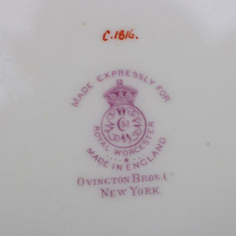 12 English Ovington Bros. Gilt Porcelain Dinner Plates by Royal Worcester For Sale 3