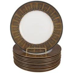 12 English Ovington Bros. Gilt Porcelain Dinner Plates by Royal Worcester