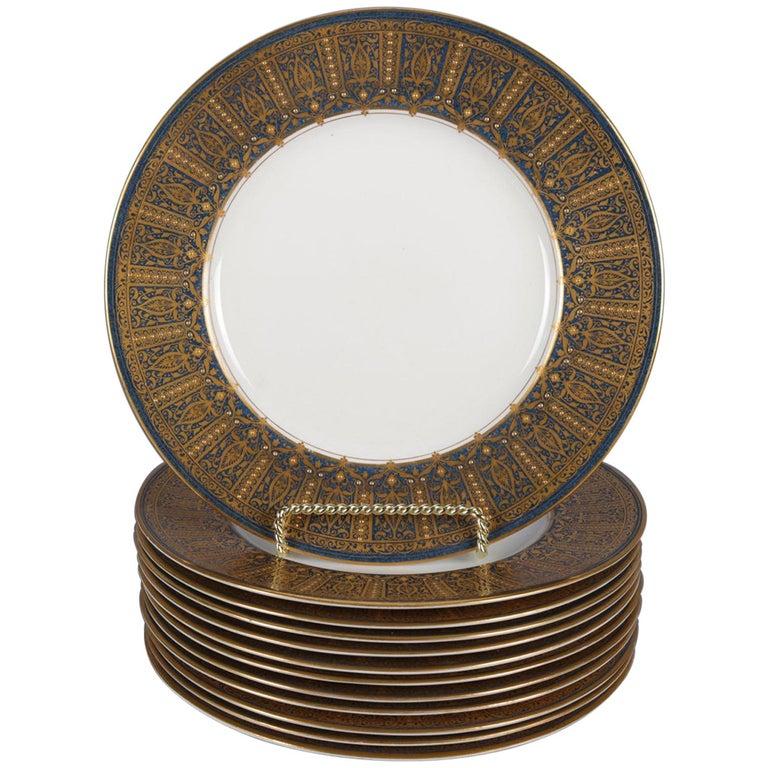 12 English Ovington Bros. Gilt Porcelain Dinner Plates by Royal Worcester For Sale