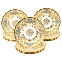 12 Exquisite Turquoise Gilt Encrusted Dessert Plates, Antique English circa 1910