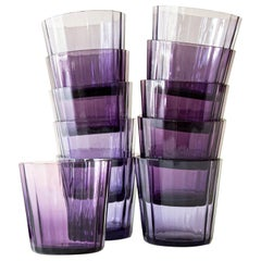 12 Facet Swedish Art Deco Sherry Glasses in Lilac and Blue