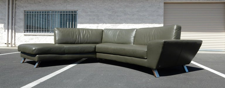 Cool Italian Leather Sofa And Ottoman By Natuzzi Of Italy For Alphanode Cool Chair Designs And Ideas Alphanodeonline