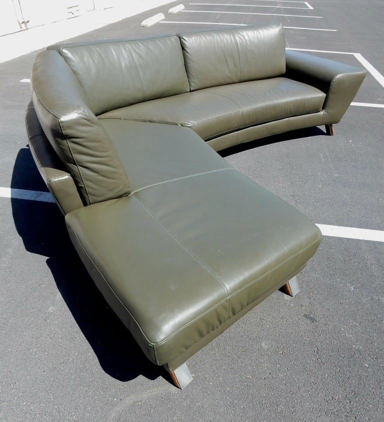 Italian Leather Sofa and Ottoman by Natuzzi of Italy For Sale at 1stdibs