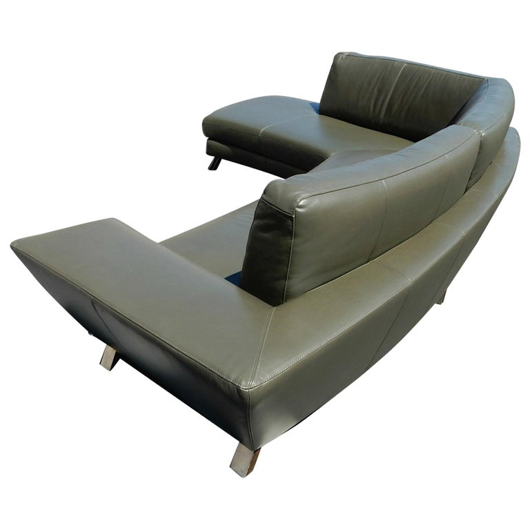 Italian Leather Sofa and Ottoman by Natuzzi of Italy