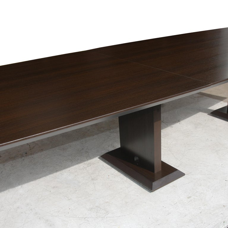 Laminate 12ft Boat Shaped Dining Table For Sale