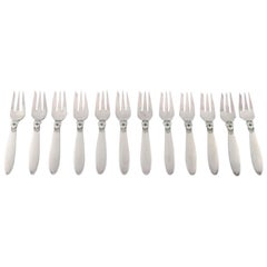 12 Georg Jensen Cactus Pastry Forks in Sterling Silver