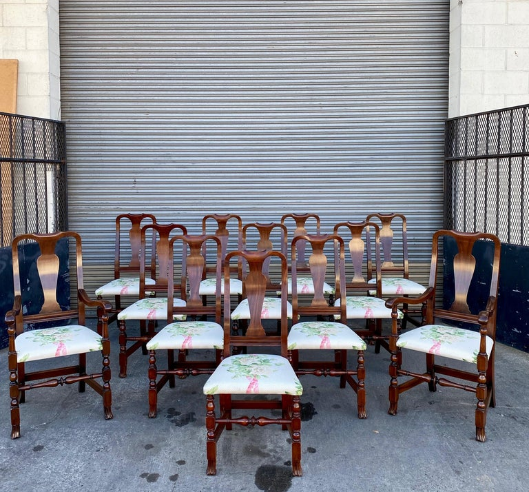 12, George III Style Mahogany Dining Chairs, 2 Armchairs, 10 Side Chairs For Sale 7