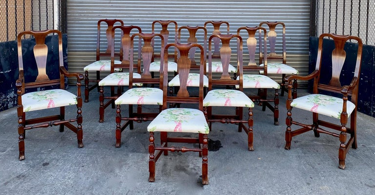 12, George III Style Mahogany Dining Chairs, 2 Armchairs, 10 Side Chairs For Sale 8