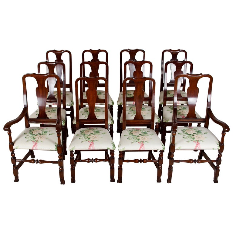 12, George III Style Mahogany Dining Chairs, 2 Armchairs, 10 Side Chairs For Sale