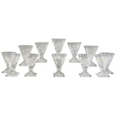 12 Georgian Anglo Irish Crystal V-Shaped Goblets with Engraved Thistles & Roses