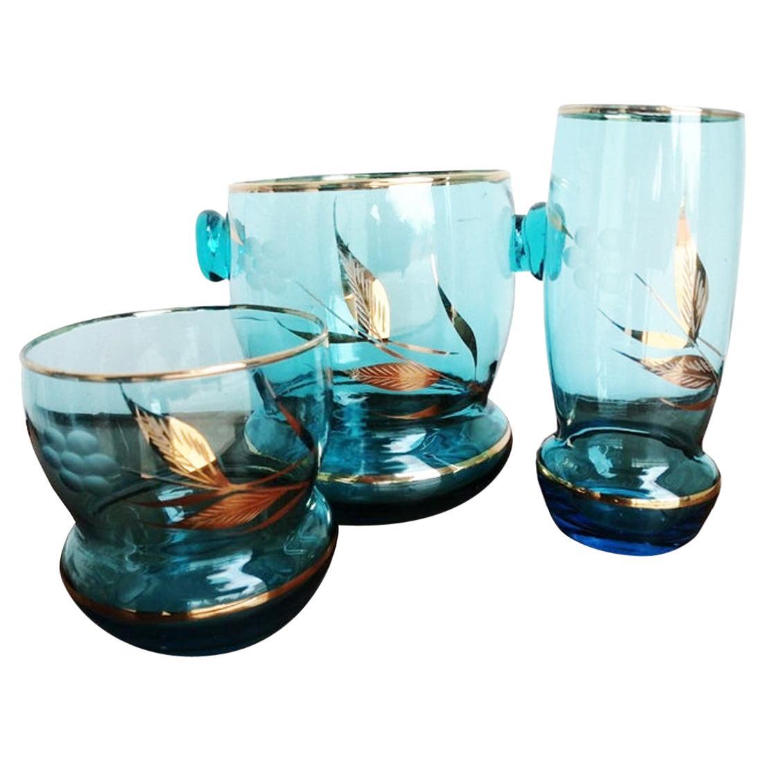 12 Glasses & Ice Bucket Bohemian Crystal Czechoslovakia, 1950s