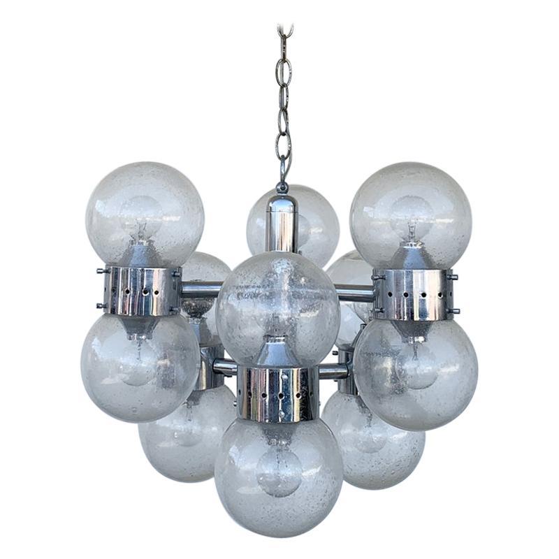 12 Globe Chandelier in Chrome & Glass After Lightolier