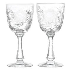 12 Hawkes Crystal China Aster Pattern Water Goblets