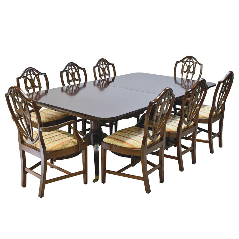 12 Hepplewhite Style Dining Table Mahogany 2 Pedestals 3 Leaves Circa