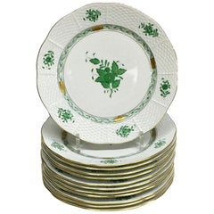 "12 Herend ""Chinese Bouquet Apponyi Green"" Breakfast Plates"