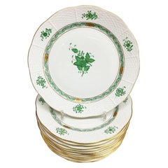 "12 Herend ""Chinese Bouquet Apponyi Green"" Dinner Plates"