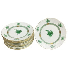 """12 Herend """"Chinese Bouquet Apponyi Green"""" Salad Plates"""