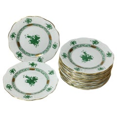 "12 Herend ""Chinese Bouquet Apponyi Green"" Small Plates, #514/AV"