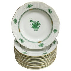 "12 Herend ""Chinese Bouquet Apponyi Green"" Soup Plates"