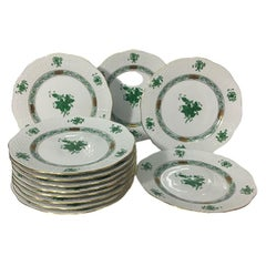 "12 Herend Hungary porcelain""Chinese Bouquet Apponyi Green"" Small Plates 16,5 cm"