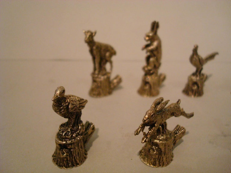12 Italian 800 Silver Animal Place Card Holders For Sale 6