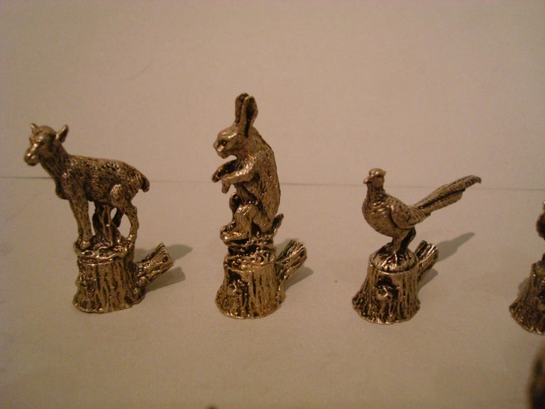 12 Italian 800 silver animal place card holders