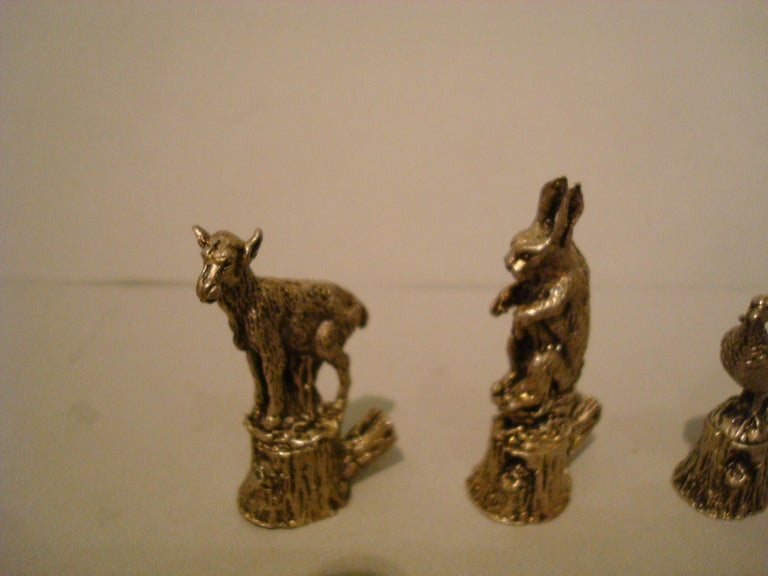 12 Italian 800 Silver Animal Place Card Holders For Sale 2
