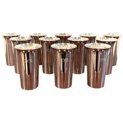 12 Italian Modern .950 Silver Mint Julep Cups