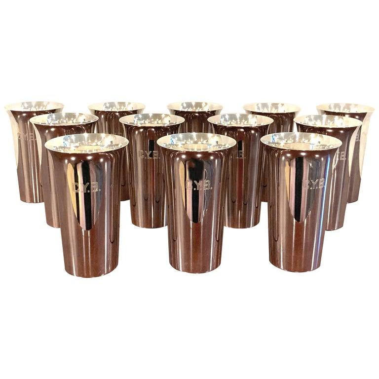 12 Italian Modern  950 Silver Mint Julep Cups