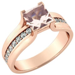 1.2 Karat 14 Karat Rose Gold Morganite and Diamonds Princess Engagement Ring