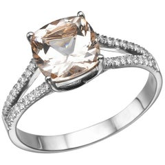 1.2 Karat 14 Karat White Gold Morganite and Diamonds Cushion Engagement Ring