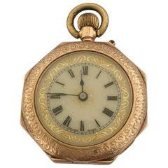 12 Karat Gold Octagonal Shape Full Engraved Case Antique Pocket / Fob Watch