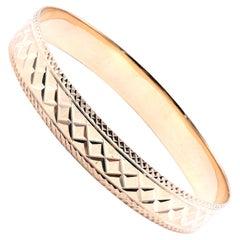12 Karat Yellow Gold Engraved Bangle Bracelet