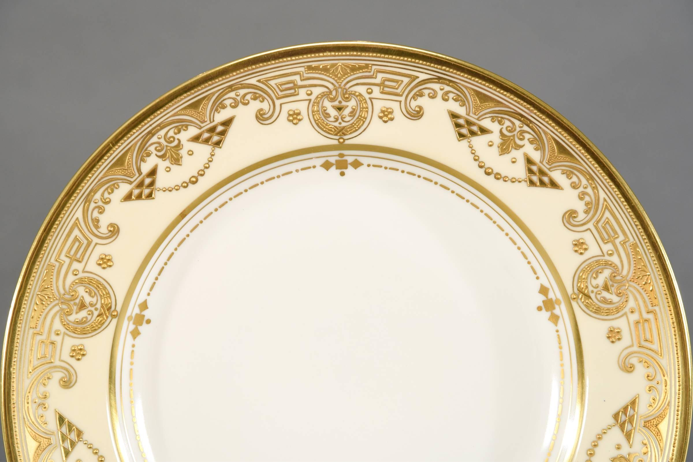 This set of 12 dinner plates are made by Lamm Dresden in a rare Arts \u0026 & 12 Lamm Dresden Arts and Crafts Raised Paste Gold and Cream Dinner ...