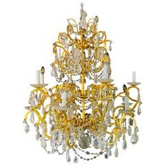 12 Light Gilt Metal Rock Crystal Chandelier. Hollywood Regency in Style.
