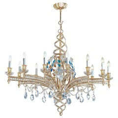 12-Light Iron Chandelier with Straight Arms