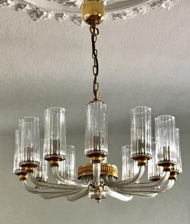 Art Deco 12-Light Italian Glass and Gilt Brass Chandelier, circa 1980s For Sale