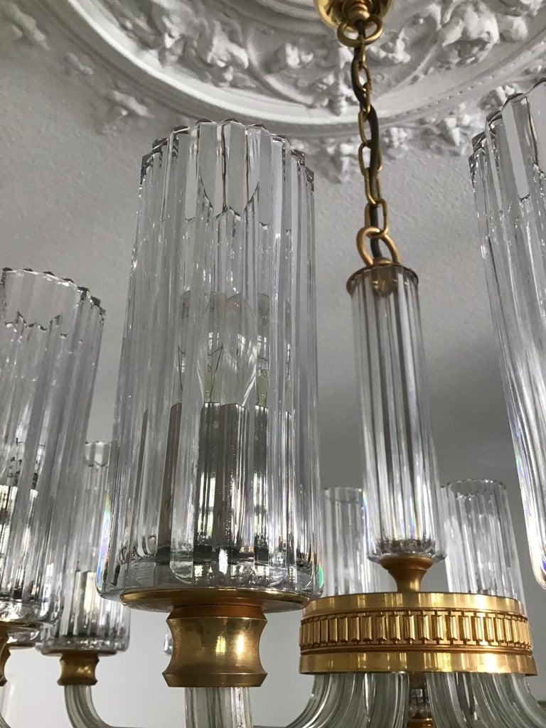 12-Light Italian Glass and Gilt Brass Chandelier, circa 1980s For Sale 1