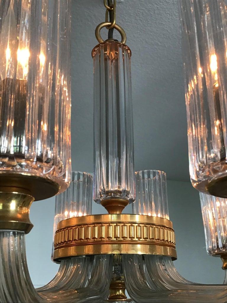 12-Light Italian Glass and Gilt Brass Chandelier, circa 1980s For Sale 3